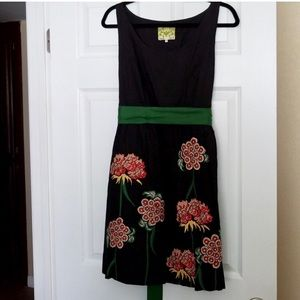 Anthropologie Floreat Black Dress with Flowers